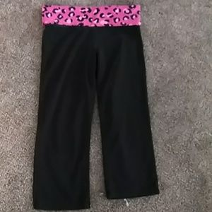 PINK Black Capri's with Cheetah Bling Waistband